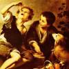 """BARTOLOMÉ ESTEBAN PEREZ MURILLO: """"Kuchenesser"""";1665–1675, Öl auf Leinwand, 123 × 102 cm;München, Alte Pinakothek."""