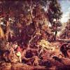 "PETER PAUL RUBENS: ""Eberjagd"";um 1615–1616, Öl auf Holz, 137 × 168 cm;Dresden, Gemäldegalerie."