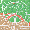 Stadtplan von Karlsruhe.Karlsruhe wurde 1715 durch Graf KARL WILHELM VON BADEN BURLACH gegründet. Legende: Rot = Schloss und dazu gehörige Gebäude, Braun = planmäßig angelegte Stadtbauten, Grün = Grünanlagen