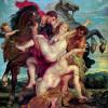 """PETER PAUL RUBENS: """"Raub der Töchter des Leukippos durch Castor und Pollux"""";um 1618–1620, Öl auf Leinwand, 222 × 209 cm;München, Alte Pinakothek"""