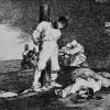 "FRANCISCO DE GOYA Y LUCIENTES: ""Und es gibt keine Hilfe dagegen"";Blatt 15 aus der Folge ""Desastres de la Guerra"" (Schrecken des Krieges);1814–1820, Aquatinta-Radierung;Biblioteca Nacional, Madrid, Spanien."
