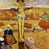 """PAUL GAUGUIN: Der gelbe Christus, 1889, Öl auf Leinwand, 92,1 × 73 cm, Buffalo (N Y.), Albright-Knox Art Gallery""""Der gelbe Christus"""" kommt der naiven Kunst ROUSSEAUs schon sehr nahe. Zugleich verweisen die Malweise sowie die nur angedeuteten Proportionen"""