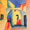 AUGUST MACKE: Blick in eine Gasse, 1914, Aquarell, 29 × 22,5 cm, Mülheim a.d. Ruhr, Städtisches Museum