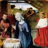 """MEISTER VON MOULINS: """"Geburt Christi und der Kardinal Rolin"""";um 1490, Holz;Autun, Musée du St. Lazaire."""