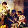 """BARTOLOMÉ ESTEBAN PEREZ MURILLO: """"Kinder beim Würfelspiel"""";1665–1675, Öl auf Leinwand, 140 × 108 cm;München, Alte Pinakothek."""