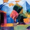 "AUGUST MACKE: ""Garten am Thuner See"";1913, Öl auf Leinwand, 49 × 65 cm;Bonn, Kunstmuseum."