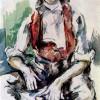 """PAUL CÉZANNE: """"Knabe mit roter Weste"""";um 1890, Aquarell;Zürich, Sammlung Feilchenfeldt.(lasierender Stil)"""