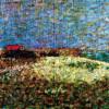 """GEORGES SEURAT: """"Das Fort Samson in Grandcamp"""" Skizze;1885, Öl auf Holz (Pointillismus) 15,2 × 24 cm;Privatsammlung.(punktartige Tupfen)"""