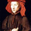 "JAN VAN EYCK: ""Porträt des Giovanni Arnolfini"";um 1435, Öl auf Holz;Berlin, Gemäldegalerie.(deckender Auftrag)"