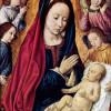 """Tafelmalerei Meister von Moulins: """"Maria mit Kind und Engeln"""";1490, Holz, 39 × 30 cm;Brüssel, Musée Royaux des Beaux Arts."""