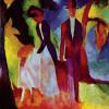 """AUGUST MACKE: """"Leute am blauen See"""";1913, Öl auf Leinwand, 60 × 48 cm;Karlsruhe, Kunsthalle.(koloristisches Konzept)"""