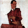 """EGON SCHIELE: """"Porträt des Arthur Rössler"""";1910, Öl auf Leinwand, 99,6 × 99,8 cm;Wien, Historisches Museum der Stadt Wien.(monochromes Konzept)"""