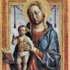 """VINCENZO FOPPA: """"Maria mit dem Buch und segnenden Christusknaben"""";1464–1468, Holz, 37 × 29 cm;Mailand, Civici Musei d'Arte e Pinacoteca del Castello Sforzesco."""