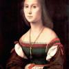 """Linienhafte Kontur durch Hell-Dunkel-Kontrast:RAFFAEL: Porträt einer Dame (""""Die Stumme"""");1507, Öl auf Holz, 64 × 48 cm;Urbino, Galleria Nazionale delle Marche."""