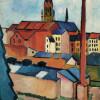 """Linien kennzeichnen Umrissformen:AUGUST MACKE: """"Marienkirche mit Häusern und Schornstein"""";1911, Öl auf Leinwand; Bonn, Kunstmuseum."""