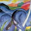 """FRANZ MARC: """"Die großen blauen Pferde"""";1911, Leinwand, 102 × 160 cm;Minneapolis (Minnesota), Walker Art Center."""