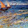 """VINCENT WILLEM VAN GOGH: """"Das Meer bei Saintes-Maries"""";1888, Öl auf Leinwand, 44 × 53 cm;Moskau, Puschkin-Museum der bildenden Künste.(Die Position der Boote links oben bis oben mittig ist das Bild bestimmende Motiv, die Boote wirken bedeutend und frisch-"""