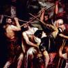 """TIZIAN: """"Dornenkrönung"""";um 1570, 280 × 182 cm;München, Alte Pinakothek(Die unterschiedliche Ausrichtung der Figuren führt zu einem bewegten Eindruck.)"""