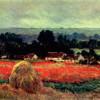 """CLAUDE MONET: """"Das Mohnblumenfeld"""" (""""Der Heuschober"""");1885;St. Petersburg, Eremitage(Die horizntale Ausrichtung der Bildelemente ruft eine beruhigende Wirkung hervor.)"""