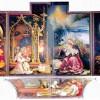 MATHIS GOTHART GRÜNEWALD: Isenheimer Altar, ehemals Hauptaltar des Antoniterklosters in Isenheim/Elsaß; zweite Schauseite, Gesamtansicht, Szene (von links): Verkündigung an Maria, Geburt Christi, Auferstehung Christi, Predella: Beweinung Christi;1512–1516