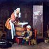 """JEAN-BAPTISTE SIMÉON CHARDIN: """"Die Wäscherin"""";um 1735, Öl auf Leinwand, 37 × 42 cm;St. Petersburg, Eremitage."""
