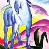 """FRANZ MARC: """"Blaues Pferd I"""";1911, Leinwand;Berlin, Sammlung Bernhard Koehler."""