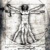"""LEONARDO DA VINCI: """"Proportionsstudie nach Vitruv"""";um 1505, Feder in Braun, leich aquarelliert, auf Papier, 344 × 245 mm;Venedig, Galleria dell' Accademia;Land: Italien, Stil: Renaissance."""