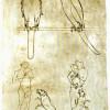 VILLARD DE HONNECOURT: Blatt aus einem Album,Falkenstudien, Musiker mit Hund und Dame mit Falken und Hund;1225–1250, Bleistift, Feder, auf Pergament, 240 × 160 mm;Paris, Bibliothèque Nationale, Cabinet des Estampes;Land: Frankreich, Stil: Gotik.