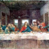 "LEONARDO DA VINCI: ""Das Abendmahl"";1495–1497, Fresko mit Öltempera, 420 × 910 cm;Mailand, Santa Maria delle Grazie, Refektorium."