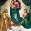 """RAFFAEL: Sixtinische Madonna,Szene: """"Maria mit Christuskind, Hl. Papst Sixtus II. und Hl. Barbara"""";1513–1514, Öl auf Leinwand, 265 × 196 cm;Dresden, Gemäldegalerie."""