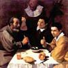 """DIEGO VELÁZQUEZ: """"Drei Männer am Tisch"""";um 1618, Öl auf Leinwand, 108,5 × 102 cm;St. Petersburg, Eremitage.(Schlagschatten und Körpermodulation)"""