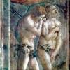 "MASACCIO: Freskenzyklus der Brancacci-Kapelle in Santa Maria del Carmine in Florenz,Szenen aus dem Leben Petri, Szene: ""Vertreibung aus dem Paradies"";1425–1428, Fresko;Florenz, Santa Maria del Carmine, Cappella Brancacci.(Perspektivisch getreu werden Adam"