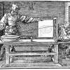 """ALBRECHT DÜRER: """"Der Zeichner der Laute"""", Entwurf;1512–1525, Holzschnitt, 131 x 188 mm;Land: Deutschland, Stil: Renaissance."""