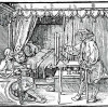 """ALBRECHT DÜRER: """"Der Zeichner des sitzenden Mannes"""", Entwurf;1512–1525, Holzschnitt, 131 x 149 mm;Land: Deutschland, Stil: Renaissance."""
