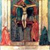 """MASACCIO: """"Heiligen Dreifaltigkeit (Trinität)"""";Fresko, 1426–1427;Kirche Santa Maria Novella, Florenz."""