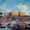 """CANALETTO (eigentlich, GIOVANNI ANTONIO CANAL): """"Venedig, Die Rückkehr des »Bucentaurus«"""";um 1728–1730, Öl auf Leinwand, 77 × 126 cm;Windsor Castle, Royal Art Collection.(Zweifluchtperspektive)"""