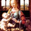 """LEONARDO DA VINCI: """"Madonna mit der Nelke"""";1478, Öl auf Holz, 42 × 67 cm;München, Alte Pinakothek."""