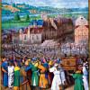 """JEAN FOUQUET: """"Livres d'heures des Étienne Chevalier"""",Szene: """"Die Trompeten von Jericho"""";um 1452–1460, Pergament;Chantilly, Musée Condé."""