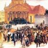 """ADOLPH FRIEDRICH ERDMANN VON MENZEL: """"Aufbahrung der Märzgefallenen"""";1848, Öl auf Leinwand, 45 × 63 cm;Hamburg, Kunsthalle."""