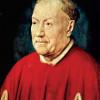 "JAN VAN EYCK: ""Porträt des Kardinal Nicholaes Albergati"";1431–1432, Öl auf Holz, 34 × 27,5 cm;Wien, Kunsthistorisches Museum."