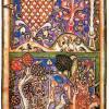 "Meister der Carmina Burana: ""Carmina Burana"",Szene: ""Waldlandschaft"";um 1230, Pergament;München, Bayerische Staatsbibliothek."