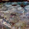 """AMBROGIO LORENZETTI: Freskenzyklus """"Allegorien der guten und der schlechten Regierung""""im Ratssaal der Neun, Palazzo Pubblico in Siena,Szene: """"Auswirkungen der guten Regierung auf dem Land"""";1338–1340, Fresko;Siena, Palazzo Pubblico."""