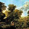 """NICOLAS POUSSIN: Gemäldefolge """"Die vier Jahreszeiten"""", Szene: """"Der Frühling"""";1660–1664, Öl auf Leinwand, 117 × 160 cm;Paris, Musée du Louvre."""