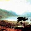 """JOSEPH MALLORD WILLIAM TURNER: """"Der Genfer See von Montreux aus gesehen"""";1810, Öl auf Leinwand, 105,4 × 165 cm;Los Angeles, Country Museum of Art."""