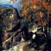 """PAUL CÉZANNE: """"Felsen im Wald von Fontainbleau"""";1865–1868, Öl auf Leinwand, 41 × 33 cm;Privatsammlung."""