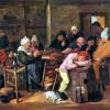 """ADRIAEN BROUWER: """"Das Schlachtfest"""";um 1630–1640, Öl auf Holz, 34 × 37 cm;Schwerin, Staatliches Museum, Gemäldegalerie."""