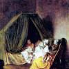 "DANIEL NIKOLAUS CHODOWIECKI: ""Die Wochenstube"";um 1770, Holz, 30 × 25 cm;Berlin, Gemäldegalerie."