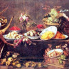 """FRANS SNIJDERS: """"Großes Stillleben mit einer Dame und Papagei"""";2. Viertel 17. Jh., Leinwand, 154 × 237 cm;Dresden, Gemäldegalerie."""