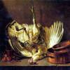"JEAN-BAPTISTE SIMÉON CHARDIN: ""Stillleben mit aufgehängtem Truthahn"";2. Drittel 18. Jh., Öl auf Leinwand, 96 × 113 cm;Budapest, Magyar Szépmüvészeti Múzeum."