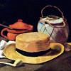 """VINCENT WILLEM VAN GOGH: """"Stillleben mit Strohhut und Pfeife"""";1885, Öl auf Leinwand, 36 × 53,5 cm;Otterlo, Rijksmuseum Kröller-Müller."""